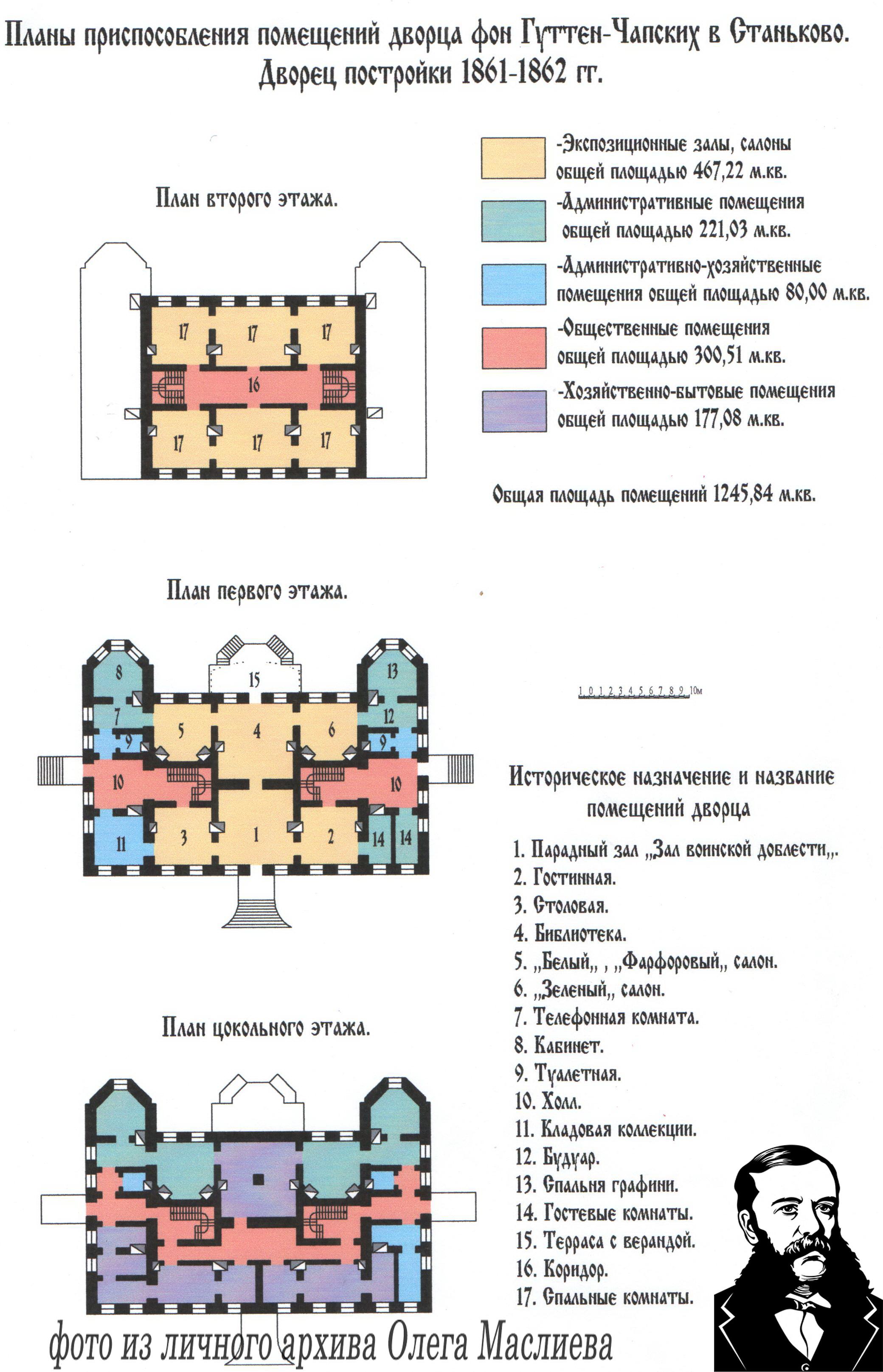 Планы приспособления помещений дворца фон Гуттен-Чапских в Станьково.