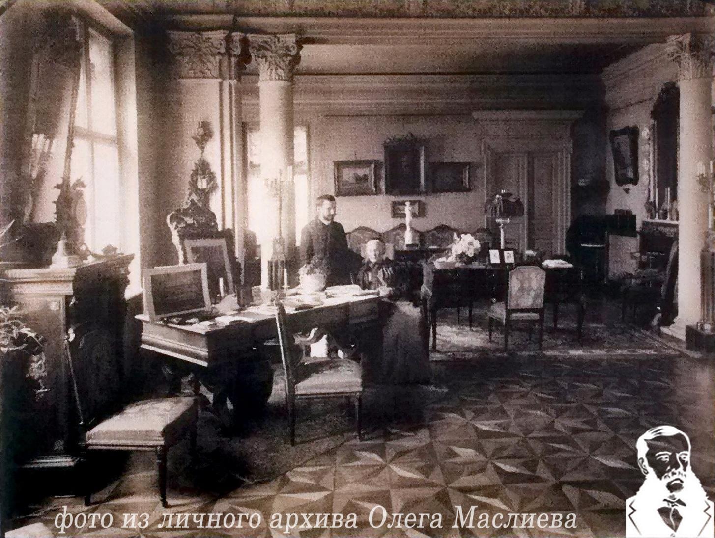 Фото Елизаветы-Каролины-Анны фон Гуттен-Чапской и Феликса Корреры в кабинете Э.Гуттен-Чапского в Кракове в 1897 году
