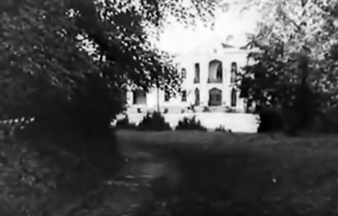 В далеке виден дворец Чапских в Прилуках . Кадр из фильма «Лесная быль», 1926 г. Реж: Юрий Тарич.