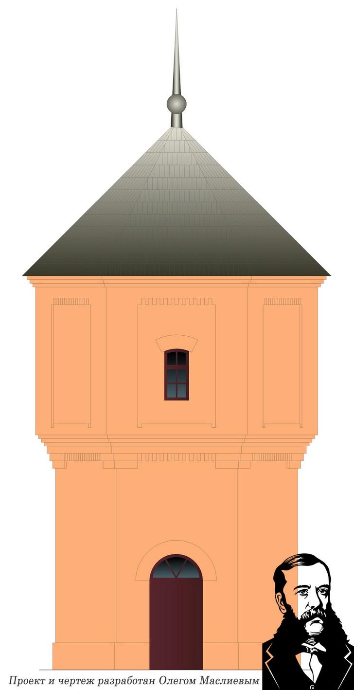 Водонапорная башня. Проект и чертеж разработан Олегом Маслиевым