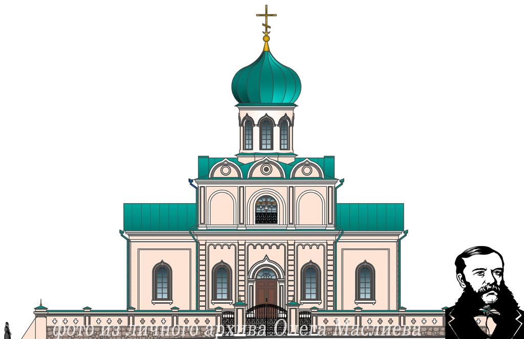 Западный фасад Свято-Николаевского храма в Станьково. Проект реставрации храма 2007 года.
