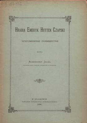 Alexander Jelski – Hrabia Emeryk Hutten Czapski – wspomnienie pośmiertne